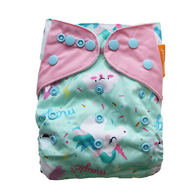 New Magical Unicorns Pocket One-Size Cloth Diaper Happy Flute Snaps USA Seller