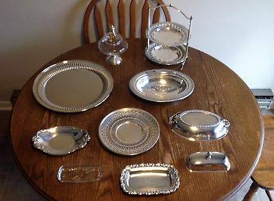 Job Lot Antique Vintage Silverplate holloware serving pieces sterling candy dish