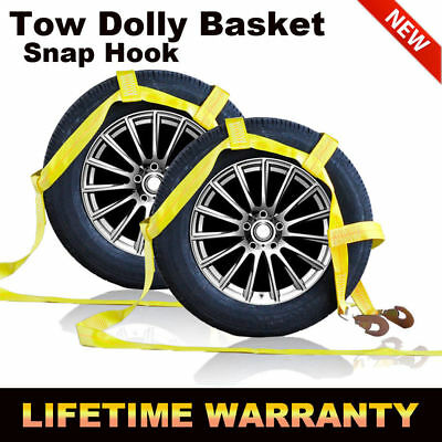 Tow Dolly Basket Strap with Twisted Snap Hooks fits15-20inch Wheels - 2 Pack