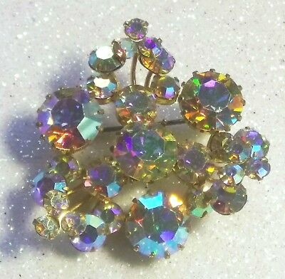 Vintage 1950's Signed Triad Gold Tone Aurora Borealis Crystal Brooch Pin