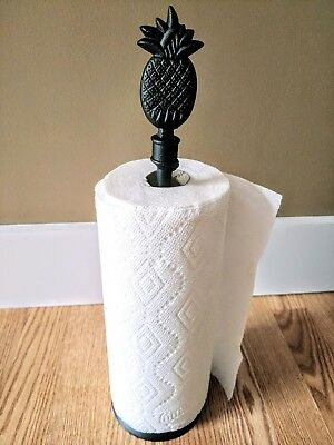 Sturdy Amish forged black wrought iron standing paper towel holder - pineapple