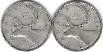 1948 Canada Silver Quarter Dollar 25 cent collection two (2) coins ~70 Years Old