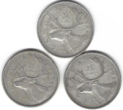 1954 Canada Silver Quarter Dollar 25 cent collection three (3) coins