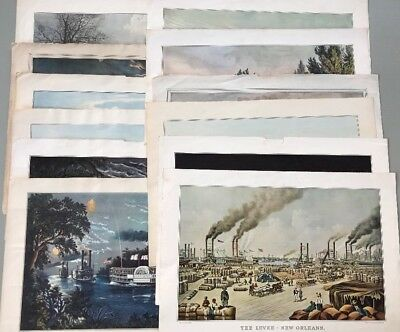 Lot of 12 Vintage Currier & Ives Prints from Calendars