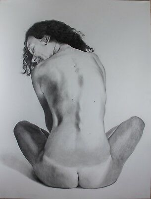 """Nude, """"Kateryna's Back"""", Original Graphite Drawing on Paper, Unframed"""