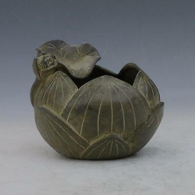 Chinese Bronze Hand-carved Lotus Incense Burner w Xuan de Mark gd9909#
