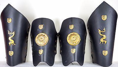 Arm and Leg guard Collectible Gift for Christmas Costumes Roman Leather Armor