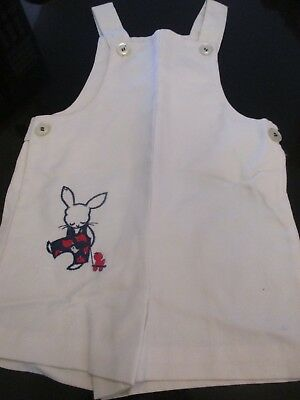VINTAGE HEALTH TEX TODDLER OVERALLS~WHITE with BUNNY & CHICK