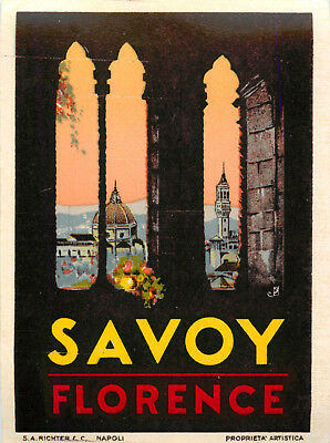 Savoy Hotel ~FLORENCE - ITALY~ Beautiful Old RICHTER Luggage Label, c. 1940