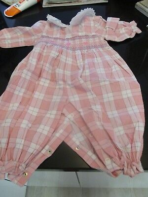 VINTAGE PINK PLAID JUMPSUIT with SMOCKED BODICE & EMBROIDERY~MADE in PHILIPPINES