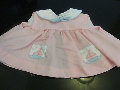 VINTAGE PINK BABY or DOLL DRESS with BOAT APPLIQUES~MADE in PHILIPPINES