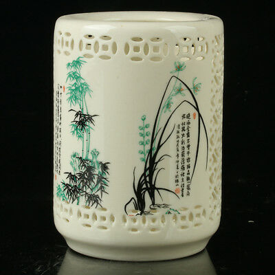 Chinese Porcelain Hand-Painted Brush Pot Mark As The Qianlong R1096#