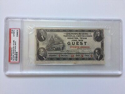 1928 Democratic National Convention Ticket Al Alfred E. Smith First Catholic PSA