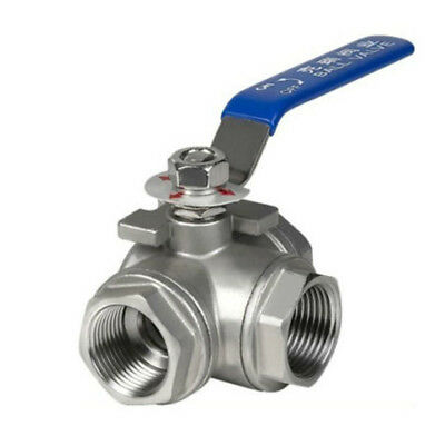 "304 Stainless Steel Ball Valve for DN15 G1/2"" Female 3-Way Water Oil"