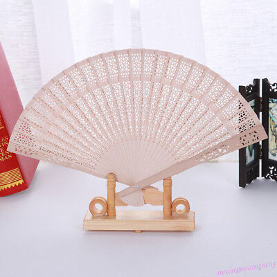 1 Pcs Wooden Chinese Bamboo Folding Hand Fan Wedding Party Vintage Gifts