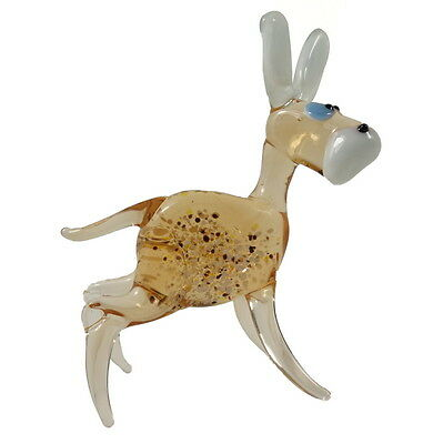 """Donkey Hand Blown Glass Figurine Murano Style Amber Color 3"""" x 3.5"""""""