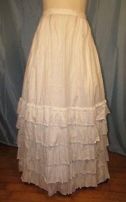 1870's Cotton Petticoat With Ruffles For Bustle Dress