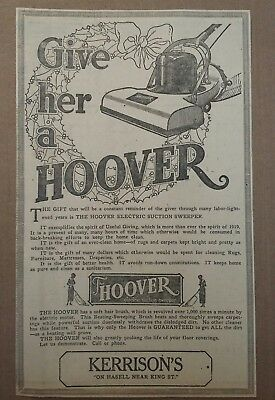 1919 Hoover Electric Suction Sweeper Ad Give Her A Hoover Vacuum cleaner