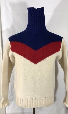 Vintage Polo Ralph Lauren 100% Wool Turtleneck Ski Suicide Sweater 92 Sport Snow