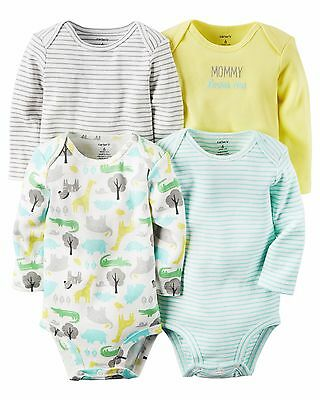 """New NEWBORN Carters Boy/Girl 4 Pack Bodysuits """"Mommy Loves Me"""" NWT MSRP $26.00"""