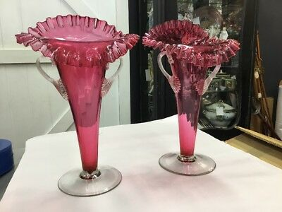 Antique Cranberry Glass Vases Pair Fluted Huge Large Handled