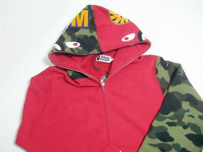 5458e947 A BATHING APE SHARK FULL ZIP HOODIE sleeve camo red green wgm L bape 18ss