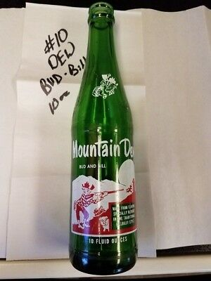 Old Vintage 10 Oz Mountain New Hillbilly Glass Bottle Bud And Bill