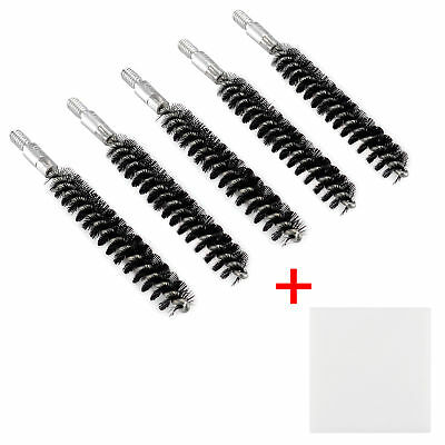 Pack of 5 Nylon Bristle Bore Cleaning Brush .30 cal 8x32 Thread with 50 Patches