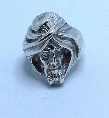 Vintage Men's Sterling Silver Arabian Sultan Ring Hand Crafted 23 Grams Heavy