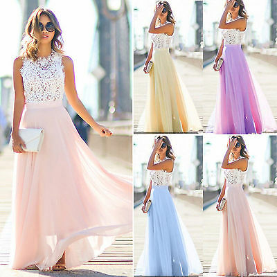 Summer Women Lace Long Bridesmaid Cocktail Evening Party Wedding Maxi Dress NEW