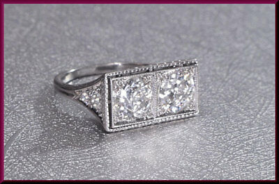 Vintage Twin Diamond Antique Art Deco Rare Engagement Wedding Ring Circa 1920's