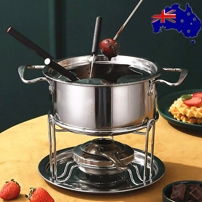 Classic Stainless Steel Fondue 12pcs Set For Cheese Chocolate Dipping AU