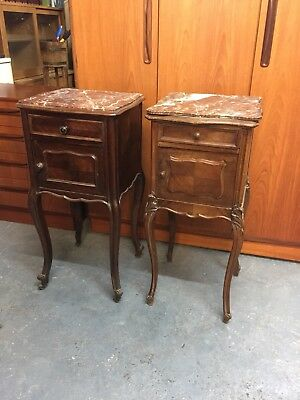 Antique French Louis Oak bedside Cabinets Side Tables with Marble Tops   M2509