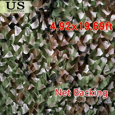 20x5FT Woodland Leaves Military Camouflage Net Hunting Camo w/ String Netting Bs