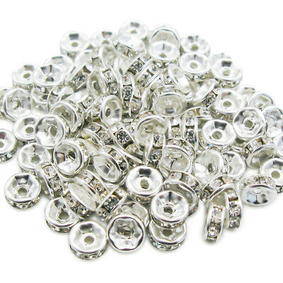 20 pieces perle 4mm strass intercalaire Argenté rondelle 4 mm creation bijoux