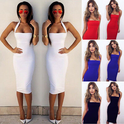 Women Bandage Bodycon Sleeveless Evening Party Cocktail Club Short Mini Dress UK