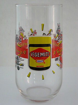 COLLECTABLE KRAFT VEGEMITE GLASS / TUMBLER future is as bright as bright can be