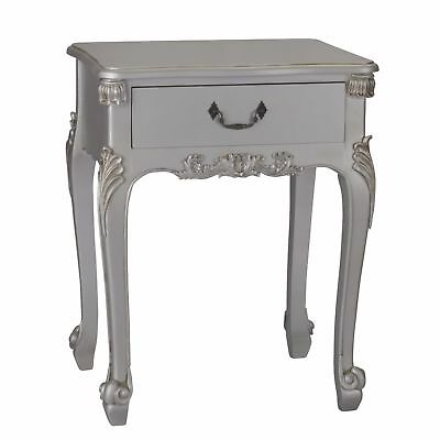 French Rococo Antique Silver Single Drawer Bedside / Side Lamp Table Boudoir