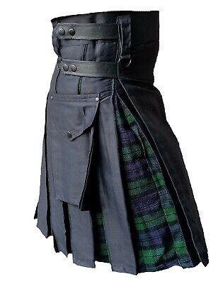 Men's Hybrid Leather Straps, Black Cotton with Blackwatch Tartan Utility Kilt
