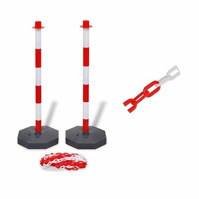 Chain Post Set with 10 m Plastic Chain Traffic Posts Portable Public Parks Roads