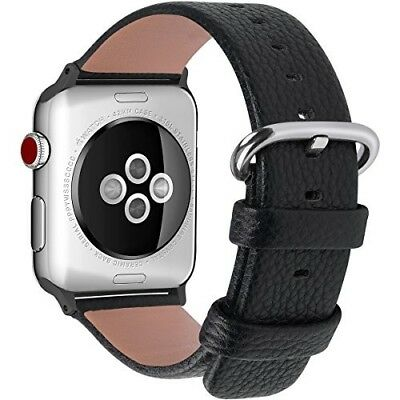 Watch Band For Apple Calf Leather Strap Black 42mm Stainless Steel Buckle NEW