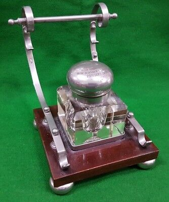 Antique Ink Well Pen Stand Named & Dated 1910