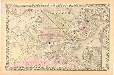 1874 Antique Map - Usa - Massachusetts- Large Plan Of Boston