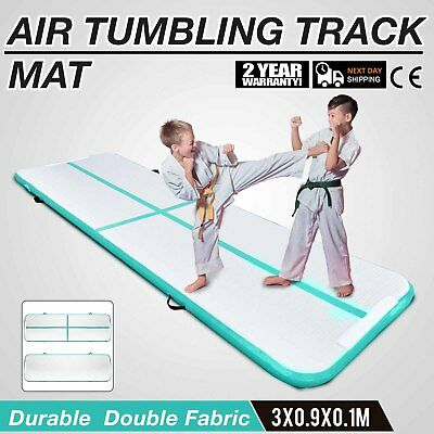 10Ft Air Track Floor Tumbling Inflatable Gym Mat Water Sport 4in Thick AirTrack