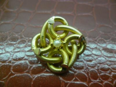 Broche ancienne avec perle or 18 carats