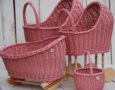 Vintage Style Wicker Wooden Hand Crafted Dolls Prams And Cradles In Dusky Pink