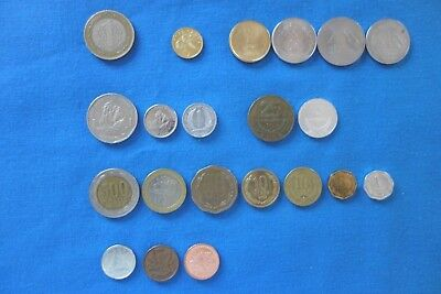 21 World Coins from 7 countries - ALL different, NO duplications