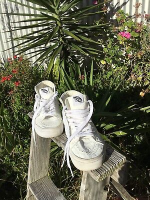 Trendy White Vans Off The Wall High Tops  Woman's 8.5 Men 7