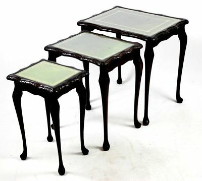 Antique Queen Anne Style Mahogany Leather Top Nest of 3 Coffee Tables [PL4467]