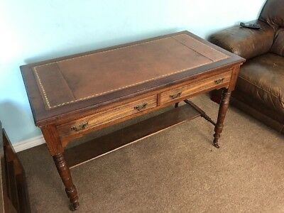 Antique Leather Inlaid Writing Desk / Side  Table